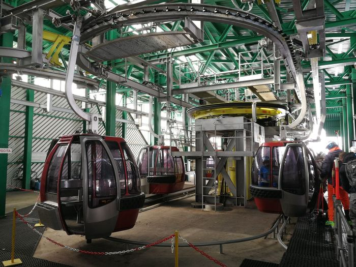 Mode Of Transportation Transportation Land Vehicle Indoors  Industry No People Public Transportation Architecture Vehicle Interior Travel Rail Transportation Day Absence Car Factory Machinery Technology Train Cableway Roccaraso Ski Lift Skiers Sangro