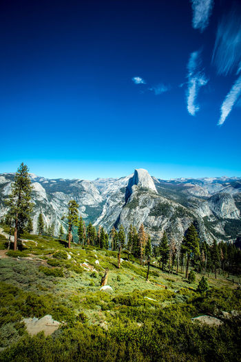 Beauty In Nature Blue Clear Sky Countryside Day Geology Green Green Color Landscape Majestic Mountain Mountain Range Nature Non-urban Scene Outdoors Physical Geography Remote Scenics Sky Solitude Tranquil Scene Tranquility Tree Valley Yosemite National Park