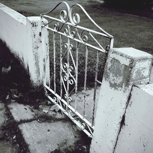 Garden Entropy Front Yard Monochrome Blackandwhite Decay Entryway Damaged Garden Gate Entropy No People Day Nature Outdoors High Angle View Architecture Transportation Built Structure Close-up