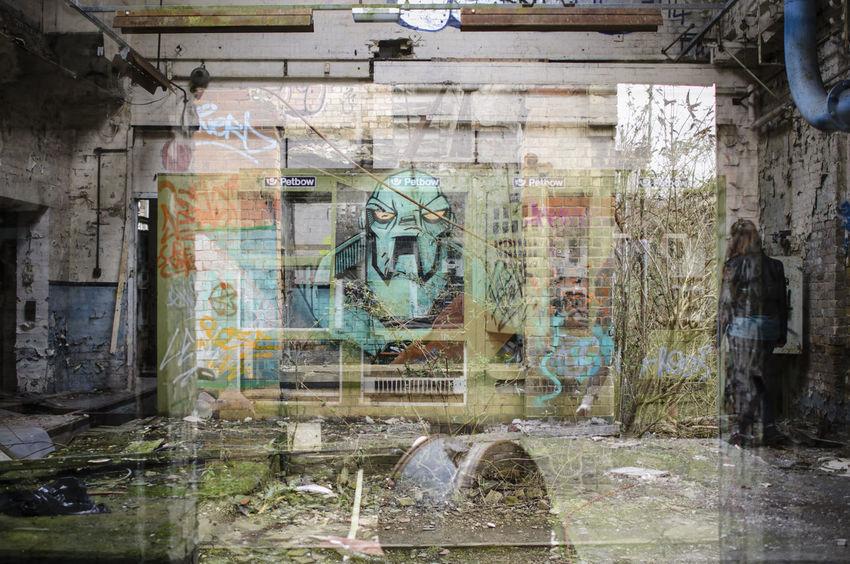 Derelict Building Multiple Exposure Graffiti Wall