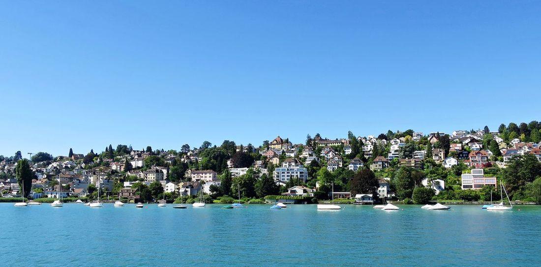Auf dem See Blue Building Exterior Clear Sky Day Outdoors Scenics Schweiz Switzerland Tranquil Scene Water Waterfront Wide Shot Zürich Zürichsee