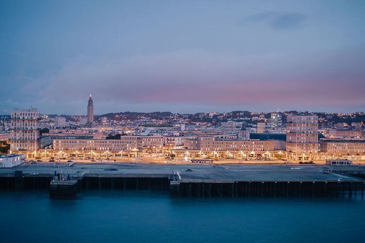 Le Havre before sunrise Architecture Architecture Building Exterior City City Life Cityscape Downtown District Dusk France French Harbor Illuminated Le Havre Long Exposure Modern Night Outdoors Perret Sky Travel Destinations Twilight Urban Skyline Water