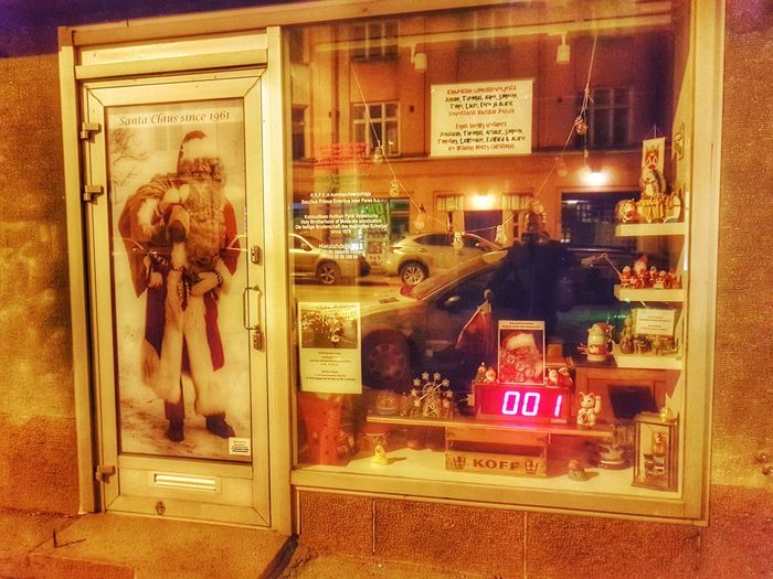 1 more sleep until Santa. Merry Christmas boys and girls! - Helsinki, Finland - 23 December 2016 No People Indoors  Text Finland Suomi Finland Winter Suomi Christmas Decoration Night City Building Exterior FinlandsWinter Samsung Galaxy S7 Helsinki Night Photography Surreptitious Night Santa Claus Forever Santa Claus