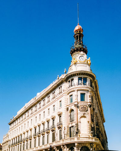 Architecture Building Exterior Low Angle View Built Structure Sky Clear Sky Tower Building Blue Nature Travel Destinations No People The Past History City Window Day Tall - High Sunlight Clock Spire