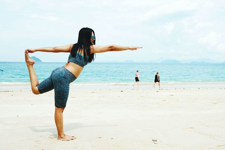 Beach Sea Sand Summer Young Women Outdoors Happiness Yoka Maditation