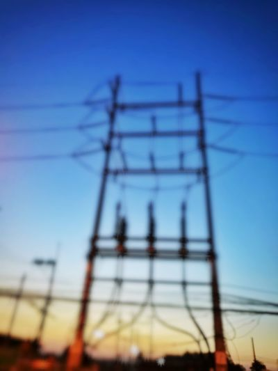 Blurred Blur Shillouette Electricity Pylon Technology Girder Clear Sky Steel Electricity  Blue Cable Fuel And Power Generation Industry