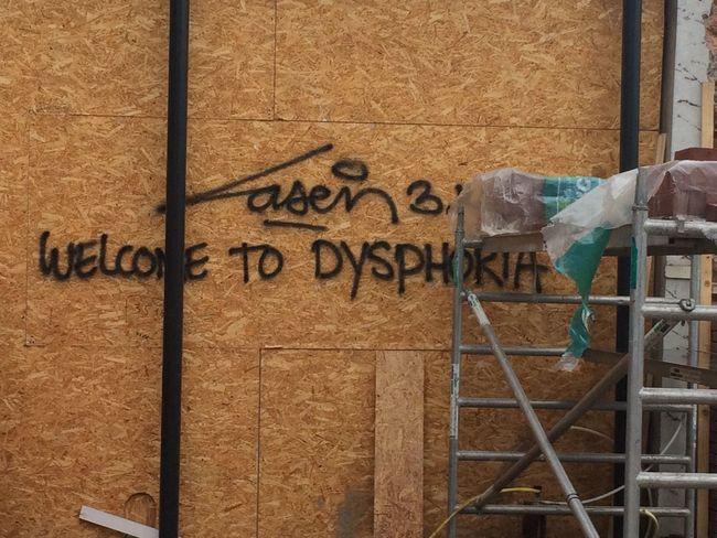 Welcome To Dysphoria Graffiti Street Art Laser 3.14
