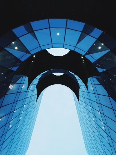 Blue Building Curve London Shape Architecture Blue Building Exterior Built Structure City Clear Sky Day Futuristic Illuminated Low Angle View Modern No People Outdoors Sky Smooth