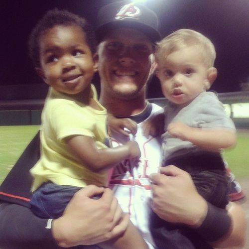 Only pic I got from the night... Two kids at the BallPark is no joke! But we had such a Funnight ! JustToSeeYouSmile ArkansasTravelers Openingday LetsPlayBall Baseballplayer MichaelSnyder Funwithfriends LilosWorld BabyGarrett CuzinLuvin WereAllFamily