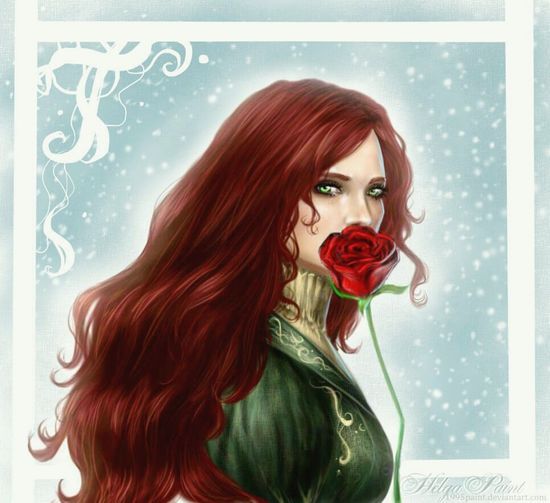 Sapkowski HelgaPaint 1995paint Triss Merigold Rosé Flower Face Art Thewitcher3wildhunt Thewitcher Redhair Witch Portrait Long Hair Only Women Beautiful Woman One Person Beauty One Young Woman Only