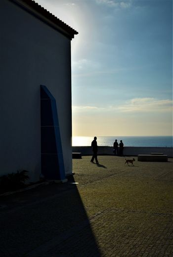 EyeEm Best Shots EyeEm Nature Lover EyeEm Selects EyeEm Gallery Nature Zambujeira Do Mar Architecture Built Structure Day Dog Horizon Over Water Lifestyles Light And Shadow Men Nature Outdoors People Real People Sea Silhouette Sky Standing Sunset Women