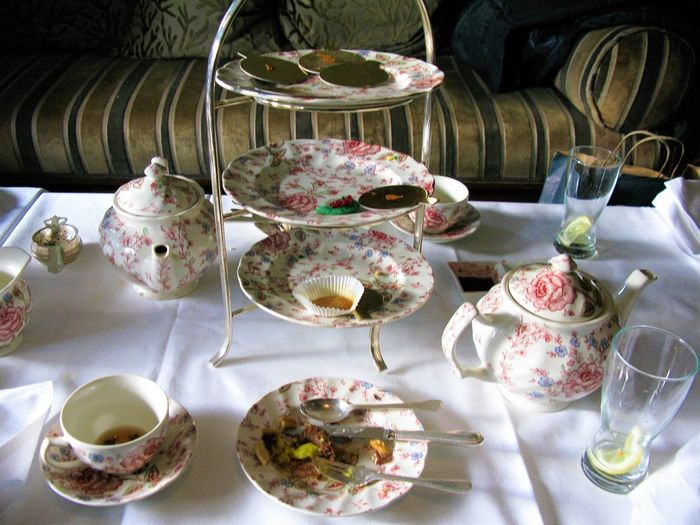 Very British!  Afternoon Tea Finnished Bowl Ceramics Close-up Crockery Cup Drink Empty Plates, Floral Pattern Food And Drink Glass High Angle View Household Equipment Indoors  Mug Nice No People Plate Still Life Table Tablecloth Tea Cup Teapot Tray
