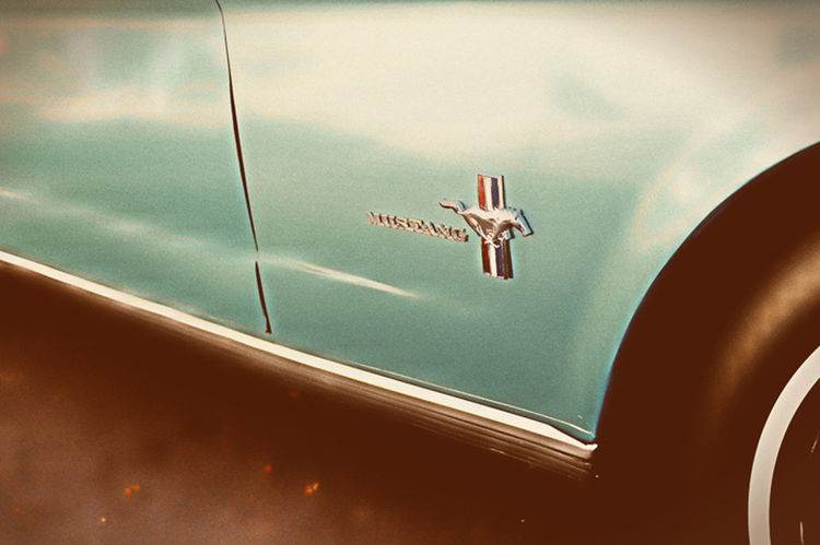 Automobile Badge Cat For Low Angle View Mustang No People Parked Vintage