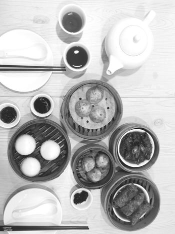 Table Indoors  Directly Above High Angle View Bowl Food Food And Drink No People IPhoneography Dimsum Healthy Eating Drink Ready-to-eat Day Freshness Chinese Food Black And White Black & White