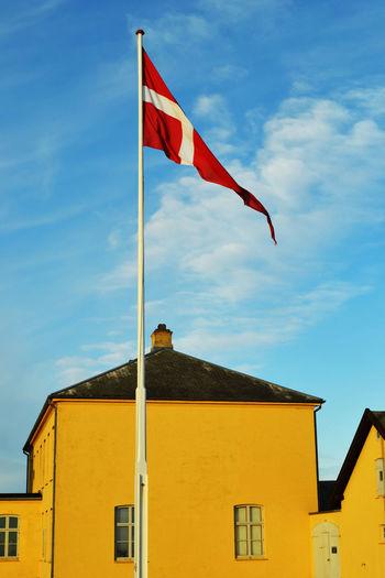Building Exterior Built Structure Denmark Flag Identity National Flag Patriotism Sky Yellow