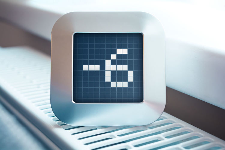 The Number -6 On A Digital Calendar, Thermostat Or Timer Business Countdown Office Screen Calendar Chrome Clock Close-up Computer Counter Degree Device Digital Display Hours Indoor Macro Minus 6 Minute Number Second Thermostat Timer Vintage -6