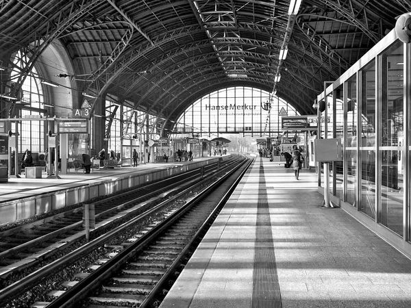 My favourite trainstation in Hamburg - taking pictures with my OlympusPEN . Railroad Station Railroad Station Platform Transportation Travel Large Group Of People Railroad Track Indoors  Train - Vehicle Rail Transportation Passenger People Day Public Transportation Transportation (null)Architecture Public Transportation Blackandwhite