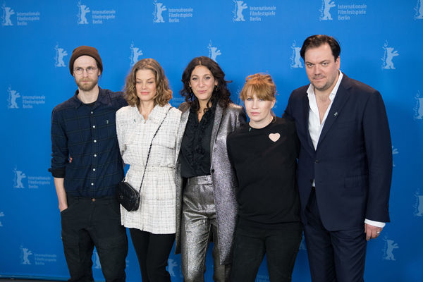 Berlin, Germany - February 19, 2018: Robert Gwisdek, Marie Baeumer, Emily Atef, Birgit Minichmayr and Charly Huebner pose at the '3 Days in Quiberon' (3 Tage in Quiberon) photo call at 68th Berlinale Birgit Minichmayr Charly Huebner Charly Hübner Emily Atef Famous Marie Baeumer Photocall Premiere Robert Gwisdek Berlinale Berlinale 2018 Berlinale Festival Berlinale2018 Berlinale68 Looking At Camera People Photo Call Popular Portrait Pose Posing Posing For The Camera Smiling Standing