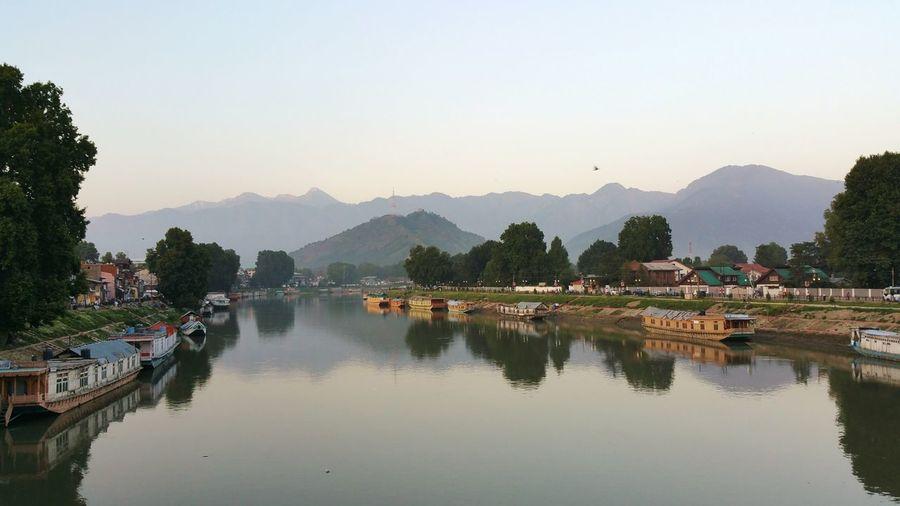 River Jhelum Srinagar  Kashmir City View  City Life Reflections Water Reflections Srinagar Kashmir House Boat