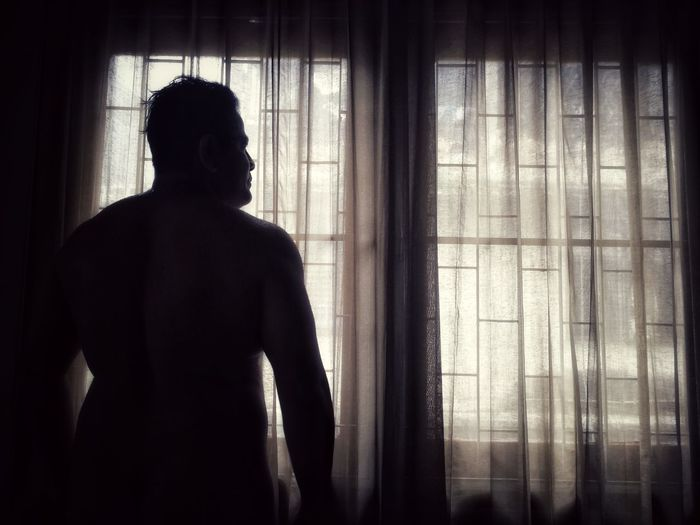 Wake up in the midnight Watch Body Part Dark Night Lowlight Abstract Male Asian  Room Shape Fat HUAWEI Photo Award: After Dark Curtain Standing Silhouette Spooky Home Interior Window Men Horror Looking Through Window Back Human Back Shoulder See Through