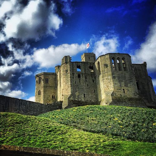 Heritage Castle Architecture Design Old WarkworthCastle History Hill Daffodils Spring Northumberland
