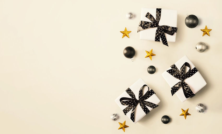 High angle view of christmas decoration on white background