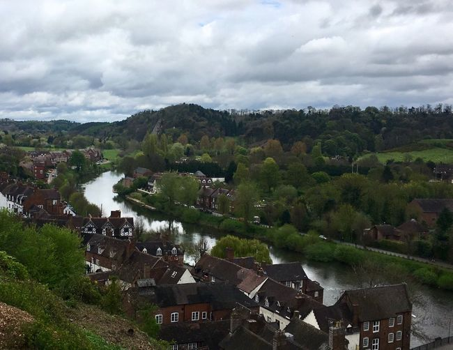 Sky Architecture Building Exterior Cloud - Sky Built Structure Tree High Angle View Water No People River Outdoors Day Nature Landscape Scenics Community Beauty In Nature IPhoneography Iphone 6 Plus Iphonephotography IPhone Photography Bridgnorth Shropshire Iphone6splus