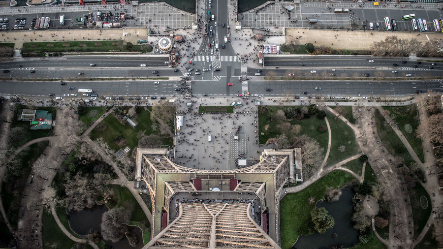 High Angle View Of City Street Seen Through Eiffel Tower