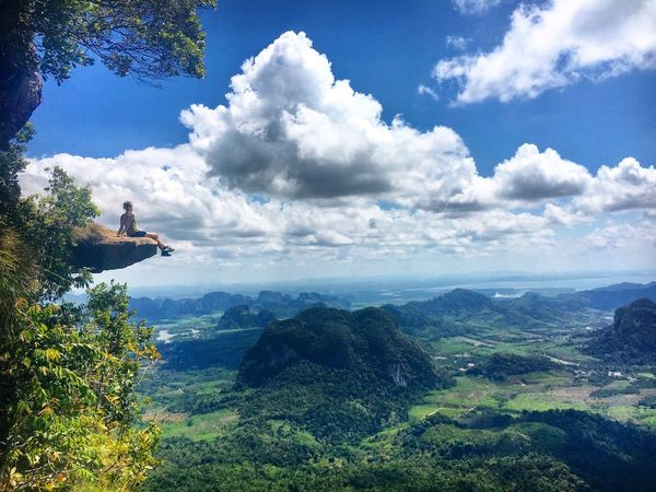 Front Row Seats to the best view in Krabi Travel Photography Thailand Beauty In Nature Tranquil Scene Cloud - Sky Outdoors Tranquility Hiking Adventure Trekking Mountain View View From Above EyeEm Best Shots EyeEm Nature Lover Krabi Travel SeeTheWorldThroughMyEyes Landscape One Person Sky Landscape_Collection Flying High The Great Outdoors - 2017 EyeEm Awards Been There. Done That. Go Higher