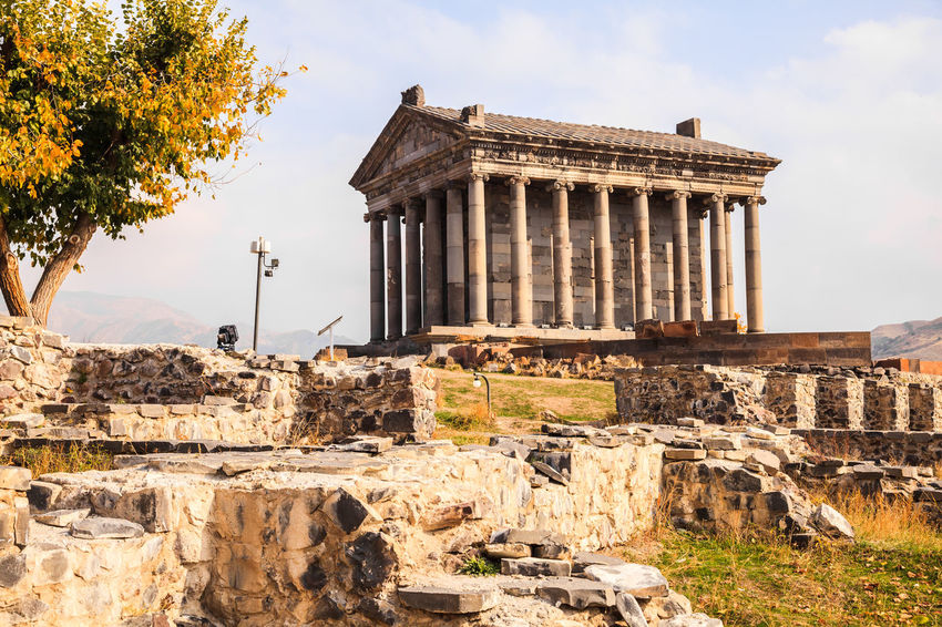 Garni Pagan Temple is the hellenistic temple in Republic of Armenia Ancient Archeology Architecturelovers Building Exterior Caucasus Christianity Church Tower Churchporn Day Destinationearth Famous Place Hellenic Landmark Landscape Nature No People Old Ruin Outdoors Plant Religion Religious  Rock Skyscraper Sunlight Travel