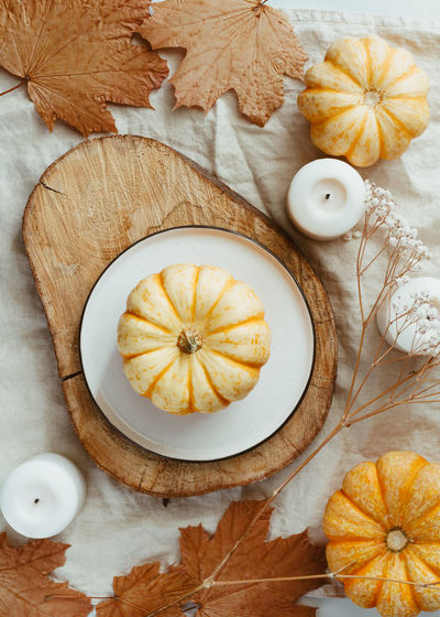 Top view of small pumpkin on a plate decorated Autumn ornate. The concept of table setting for Thanksgiving dinner and cooking. Table Setting Autumn Recipe Pumpkin Thanksgiving Fall Dinner October November Cook  Christmas Food Tableplace Cutlery White Decoration Plate Dining Ceramic Event Holiday Home Banquet Luxury Gold Decor Celebration Festive Vintage Rustic Set Tableware Napkin Fork Cozy Candles Interior Food And Drink Still Life The Creative - 2019 EyeEm Awards