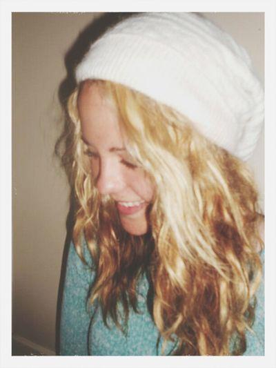 Blonde Beenie Selfie Smiling