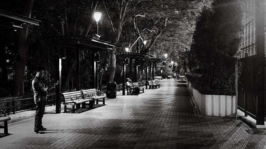 Night Park. HongKong Discoverhongkong Leicaq Leica Walking Around Blackandwhite Nightphotography Streetphotography Darkness And Light EyeEm Best Shots
