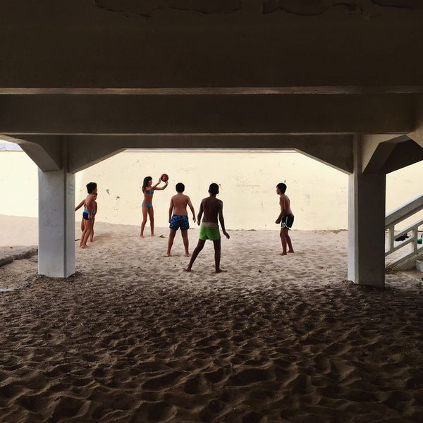 Kids Kids Being Kids Kids Playing Kids Playing At The Beach Football Soccer Pier Boardwalk Sand Beach Games Shadow Children Rio Olympics 2016