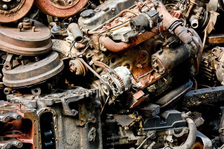 Full frame shot of rusty machine