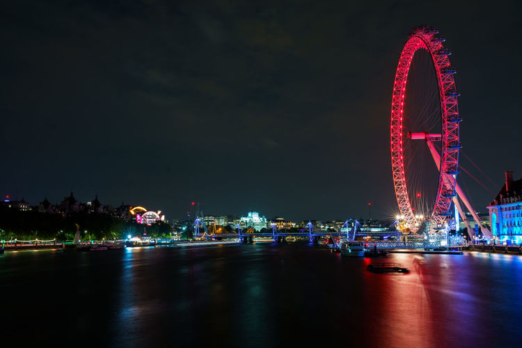 Illuminated Night Water Ferris Wheel Architecture Arts Culture And Entertainment Sky Transportation City Built Structure Nature Travel Destinations Waterfront Nautical Vessel Reflection River No People Outdoors Luxury EyeEm Best Shots Eye4photography  London