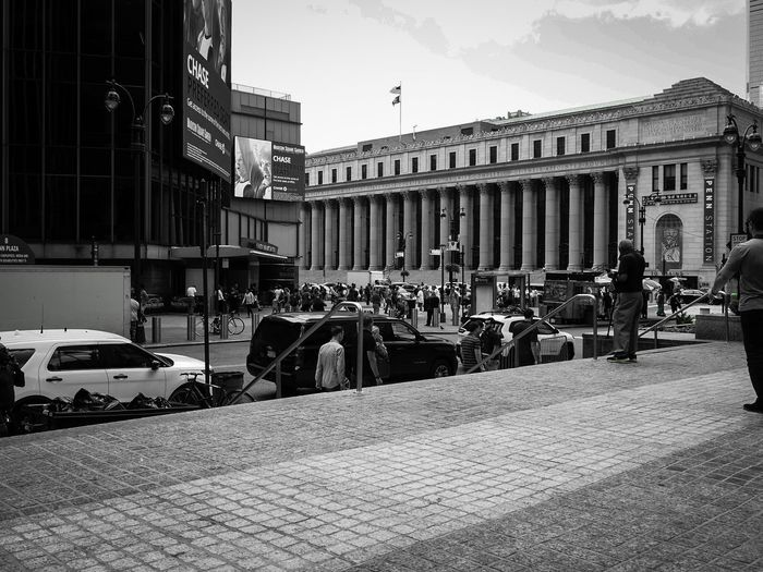 Penn Station - New York New York Black And White Photography Blackandwhite Pennstation Traffic Parking City Politics And Government Car Architecture Sky Building Exterior Built Structure Historic