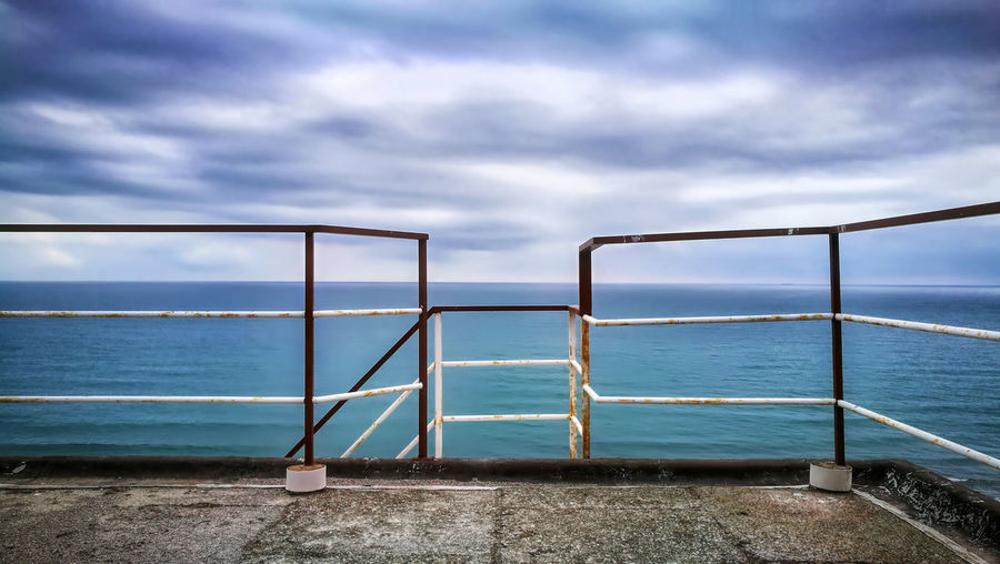 Alassio Liguria Water Sky Cloud - Sky Sea Railing Nature Beauty In Nature Day Scenics - Nature Tranquil Scene No People Outdoors Tranquility Horizon Land Metal Idyllic Horizon Over Water Architecture