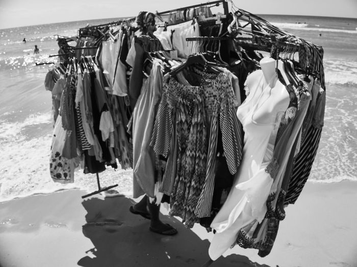 Panoramic view of clothes hanging on beach