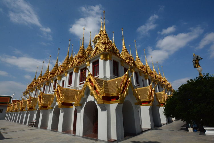 Exterior of temple building against sky
