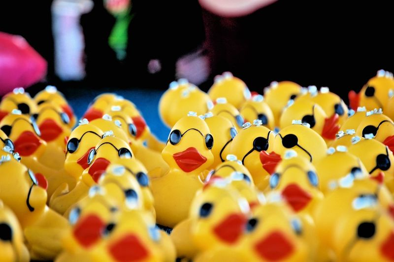 Rubber Ducks For Sale At Market Stall