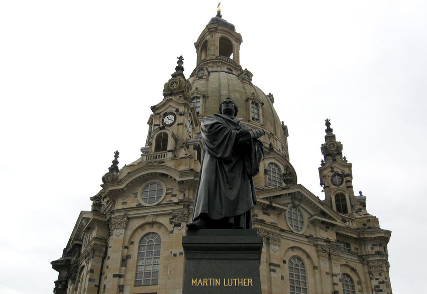 Martin Luther statue in front of Frauenkirche of Dresden, Germany Architecture Building Exterior Built Structure City Clear Sky Clock Dresden Frauenkirche Frauenkirche Dresden Germany Historic Historical Historical Building Historical Monuments Low Angle View Martin Luther Monument Reformation Sculpture Sculptures Statue Travel Travel Destinations Urban