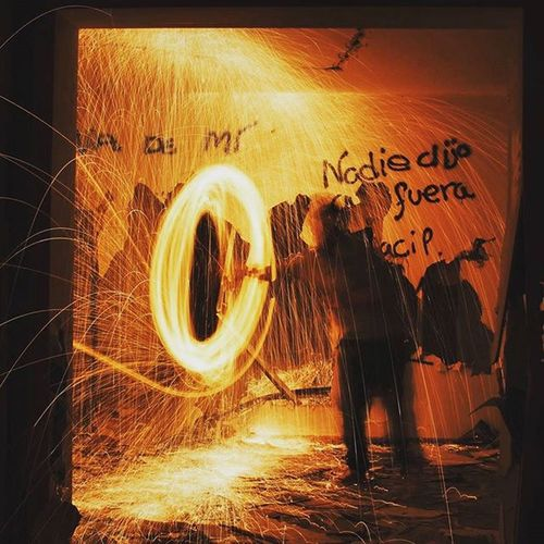 #abandoned  #abandonedhouse #fire @homework @shadowform Abandoned Places Motion Night No People Outdoors Sparks Text Wire Wool