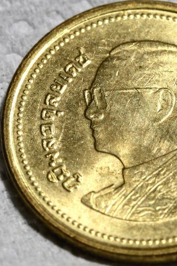 My King Rama IX Coin 2 Baht Metal No People Currency Finance Gold Colored Wealth Savings Indoors  Close-up