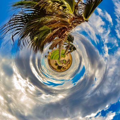 3XSPUnity EyeEm Best Shots Enjoying Life EyeEmNewHere Cloud - Sky Tree Sky Plant Nature Fish-eye Lens Planet Earth Space Palm Tree No People Outdoors Day Planet - Space Water Tropical Climate Beauty In Nature Digital Composite Growth Architecture Small