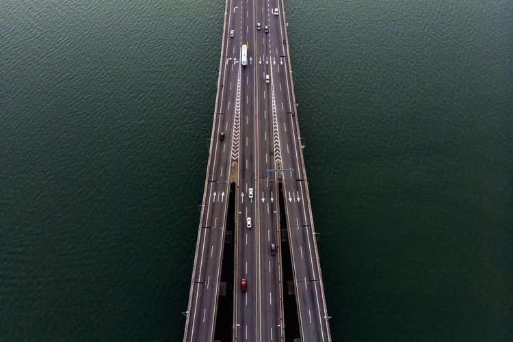 Aerial view from top of Penang Bridge Minimalism Sea Highway Malaysia Truly Asia Malaysia Penang Penang Bridge Transportation High Angle View Water Nautical Vessel Mode Of Transport No People Day Aerial View Industry Nature