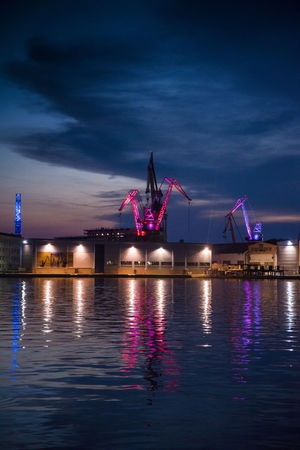 Cranes in Harbor Illuminated Water Reflection Waterfront Sky Cloud - Sky Night Nature Architecture Dusk Transportation Sea Nautical Vessel Built Structure Outdoors Blue Mode Of Transportation Building Exterior Light Purple Cranes Harbor Heaven Seaport Pula Croatia