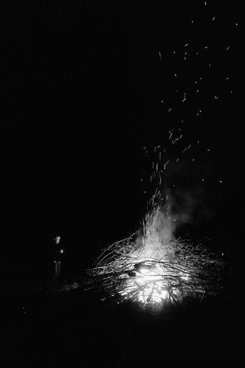 Firework display over black background