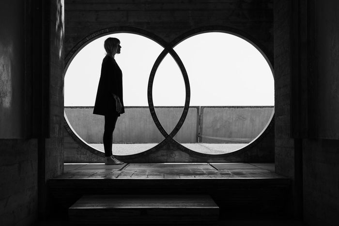 Real People Geometric Shape Circle Indoors  Shape Arch Architecture Women Leisure Activity Window Silhouette Standing 10 The Architect - 2018 EyeEm Awards