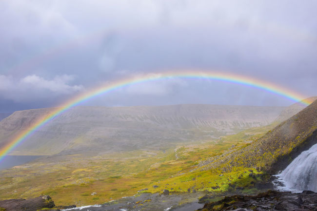 Rainbow, Iceland Beauty In Nature Cloud - Sky Day Environment Eyesight Iceland Multi Colored Natural Phenomenon Nature No People Outdoors Rainbow Refraction Scenics Spectrum Storm